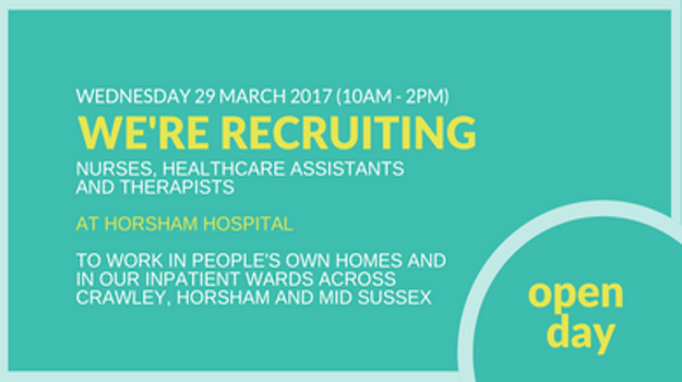 Sussex Community NHS Foundation Trust recruitment open day at Horsham Hospital - Wednesday 29th March